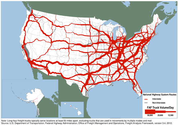 us map showing national highway system routes with truck volume per