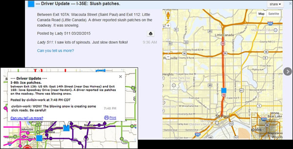 Citizen Reporting of Current Road Conditions Experiences at Five – Mn Dot Travel Map