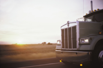 Photograph showing the cab of a tractor trailer.