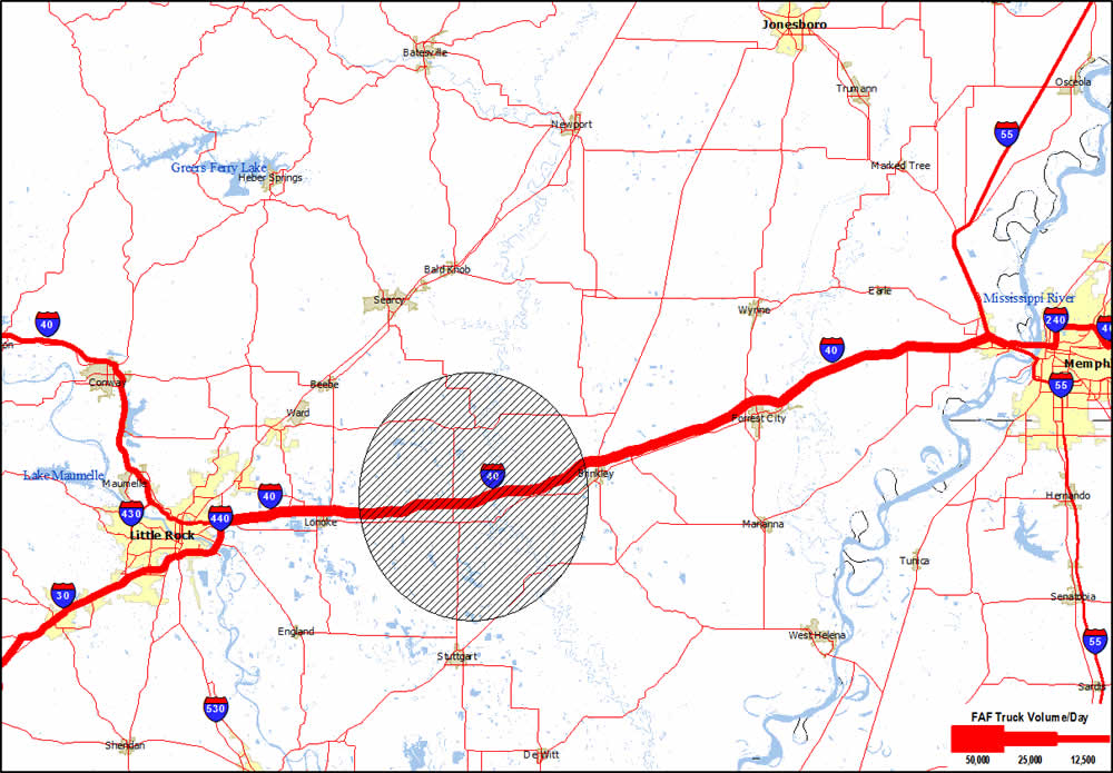 A local map of Arkansas and western Tennessee showing major concentration of truck volumes on I-40. A shaded circle between Little Rock, AR and Memphis, TN identifies the segment of I-40 affected by flooding.