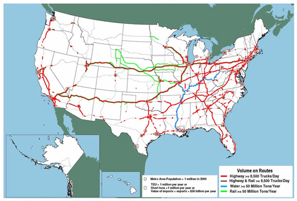 Major Freight Corridors FHWA Freight Management And Operations - Map of the us including interstates and major cities