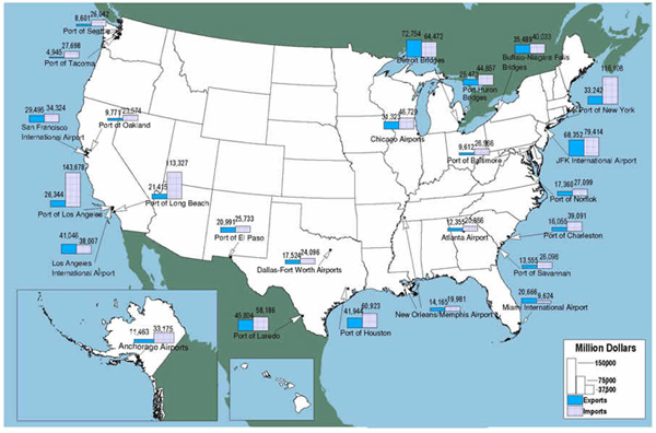 U S Map Showing That The Top International Gateways Include The Ports Of Los Angeles And Long