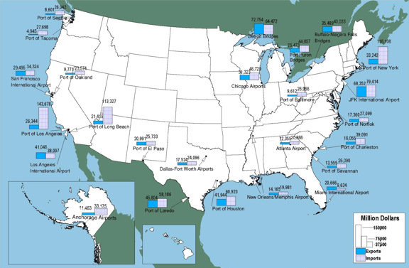 International Airports Map Us - Map of major airports in us