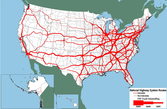 Figure Average Daily LongHaul Truck Traffic On The National - Us traffic map