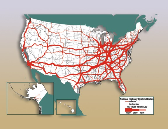 Freight Facts And Figures Figure Average Daily Long - Us traffic map
