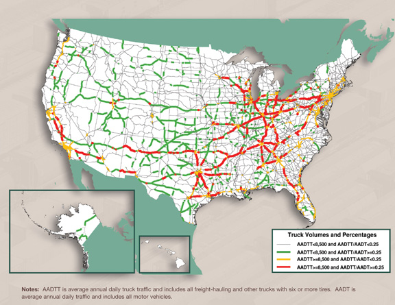 u s map showing truck volumes and percentages for year 2007