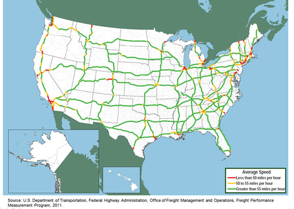 Figure 3 17 Average Truck Speeds On Selected Interstate Highways - Map-of-us-hwy-50