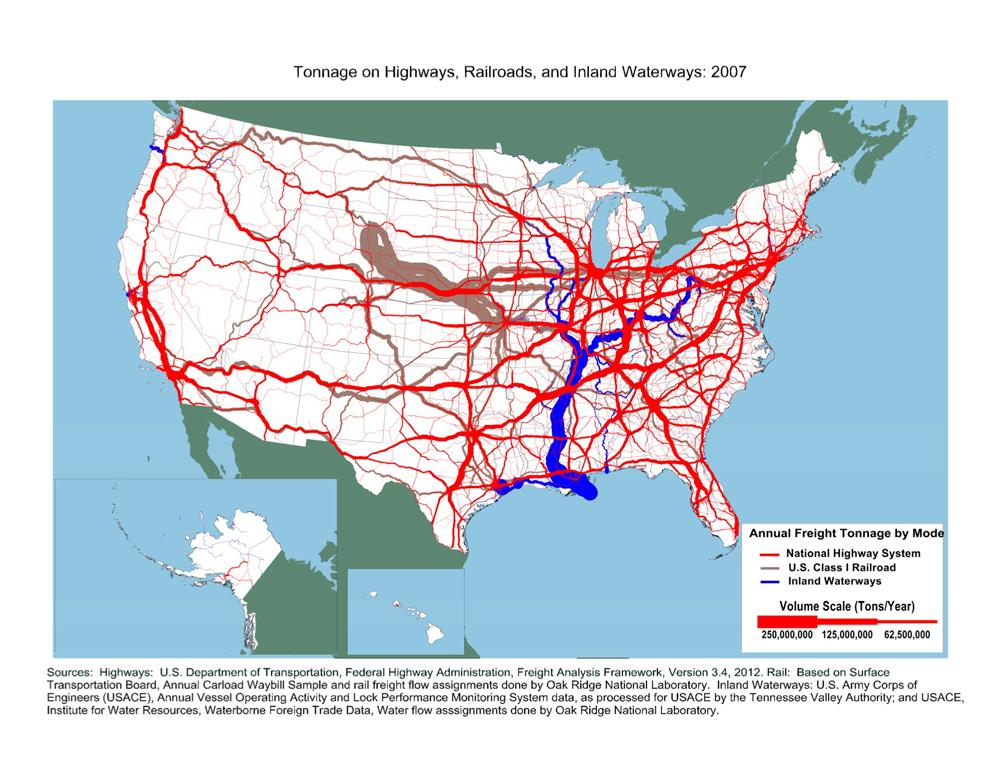 Tonnage on Highways, Railroads, and Inland Waterways: 2007