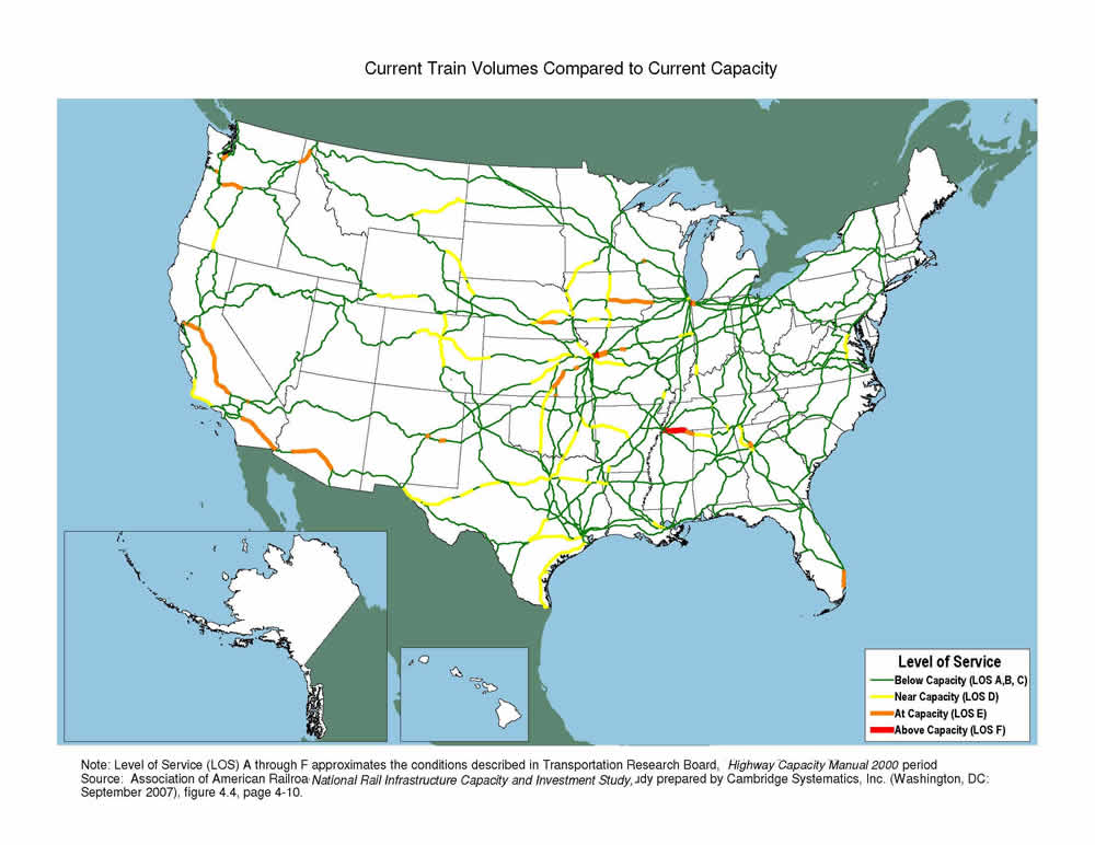 Columbia River On Us Map Current Train Volumes Compared to Current Capacity Map   FHWA