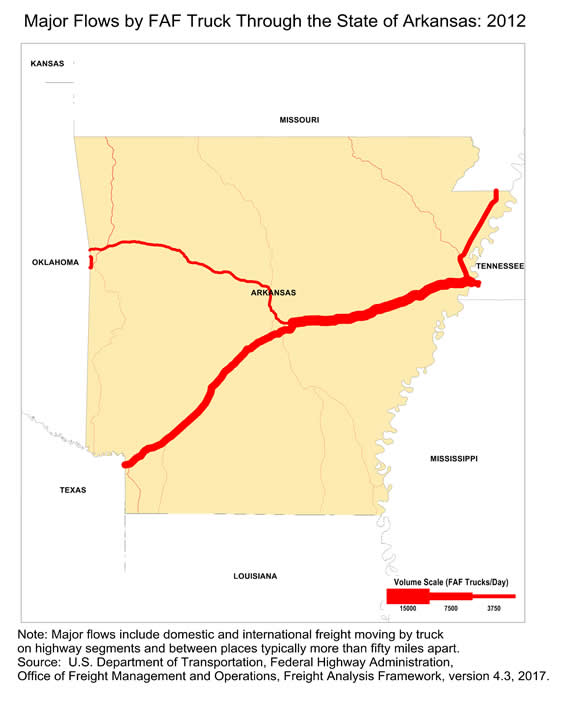 I 40 Arkansas Map.Map Of Major Freight Flow By Trucks That Pass Through The State Of