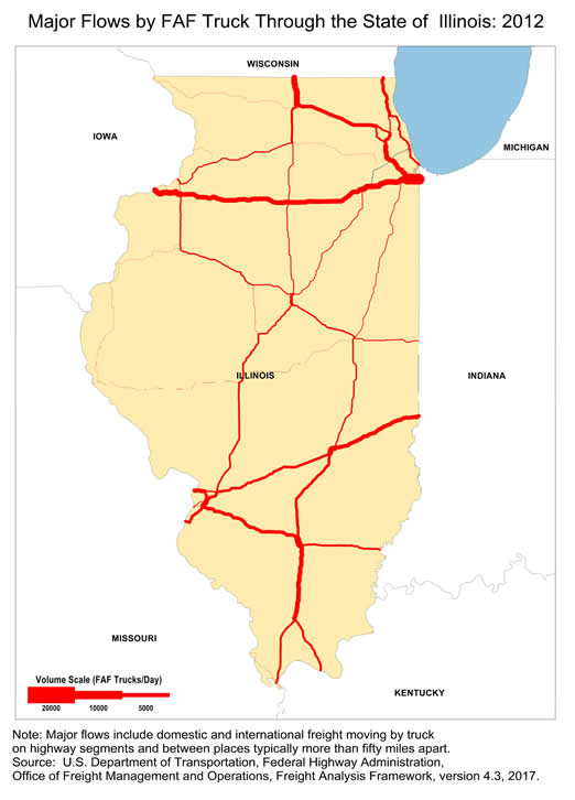 Map of Major Freight Flow by Trucks that P-Through the ... Illinois State Map on texas map, florida map, indiana map, wisconsin map, michigan map, maine map, illinois capital, kentucky map, chicago map, il map, united states map, illinois flag, ohio map, illinois abbreviation, illinois clipart, north carolina map, illinois license plates, missouri map, arkansas map, iowa map,