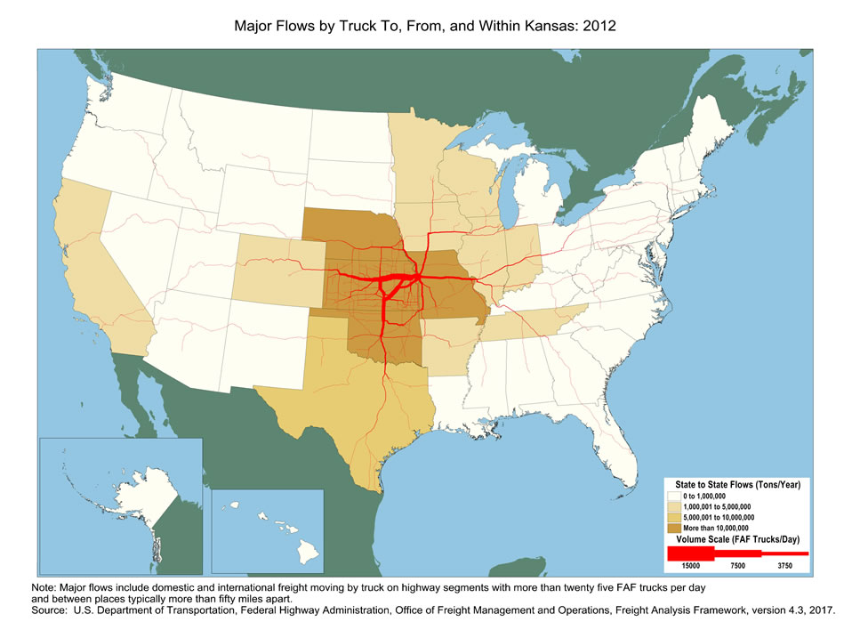 Kansas Truck Flow - Major Flows by Truck To, From, and Within Kansas on ks highway map, western kansas highway map, missouri hwy map, kansas road map with cities,