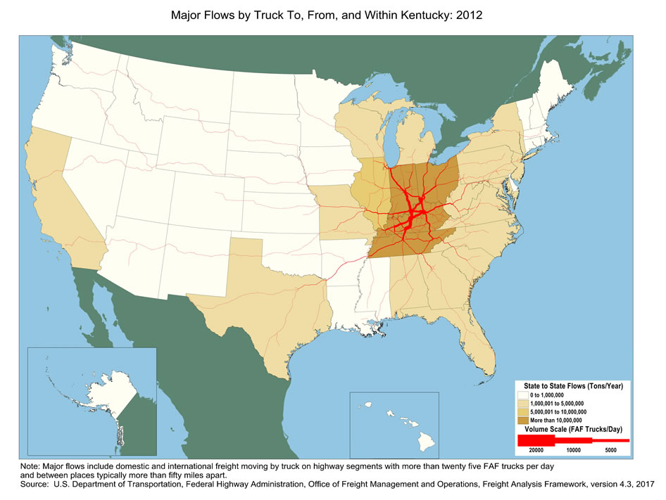 Kentucky Truck Flow Major Flows By Truck To From And Within - Kentucky on the us map