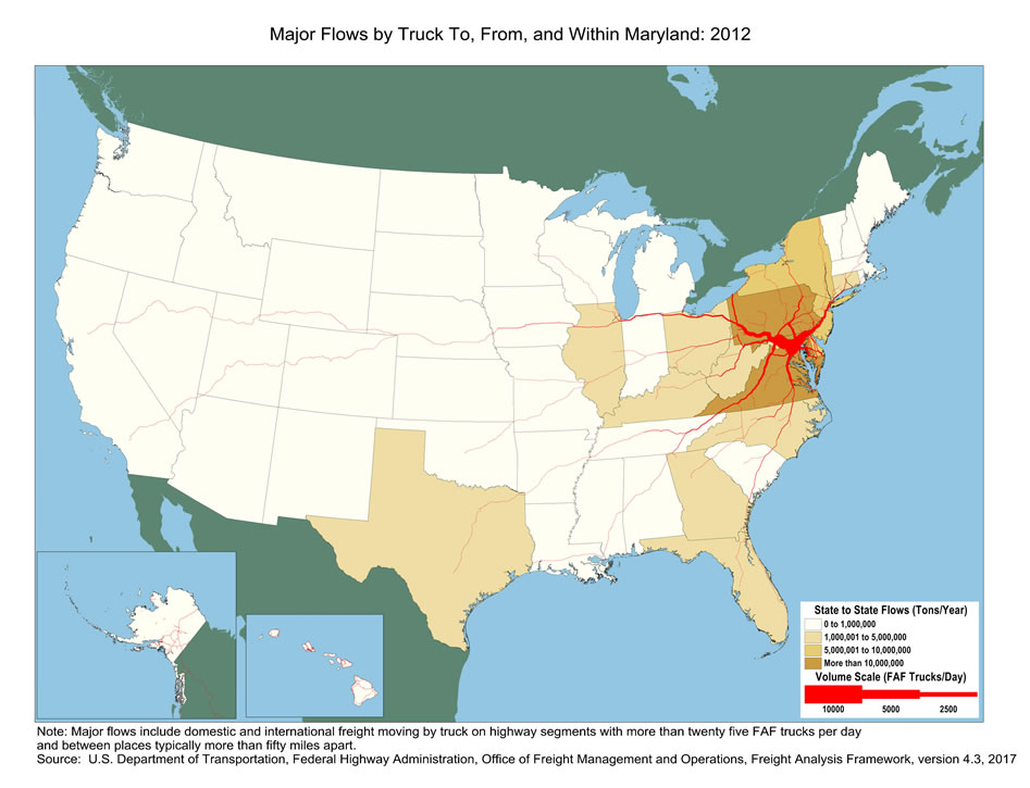 Maryland Truck Flow Major Flows by Truck To From and Within