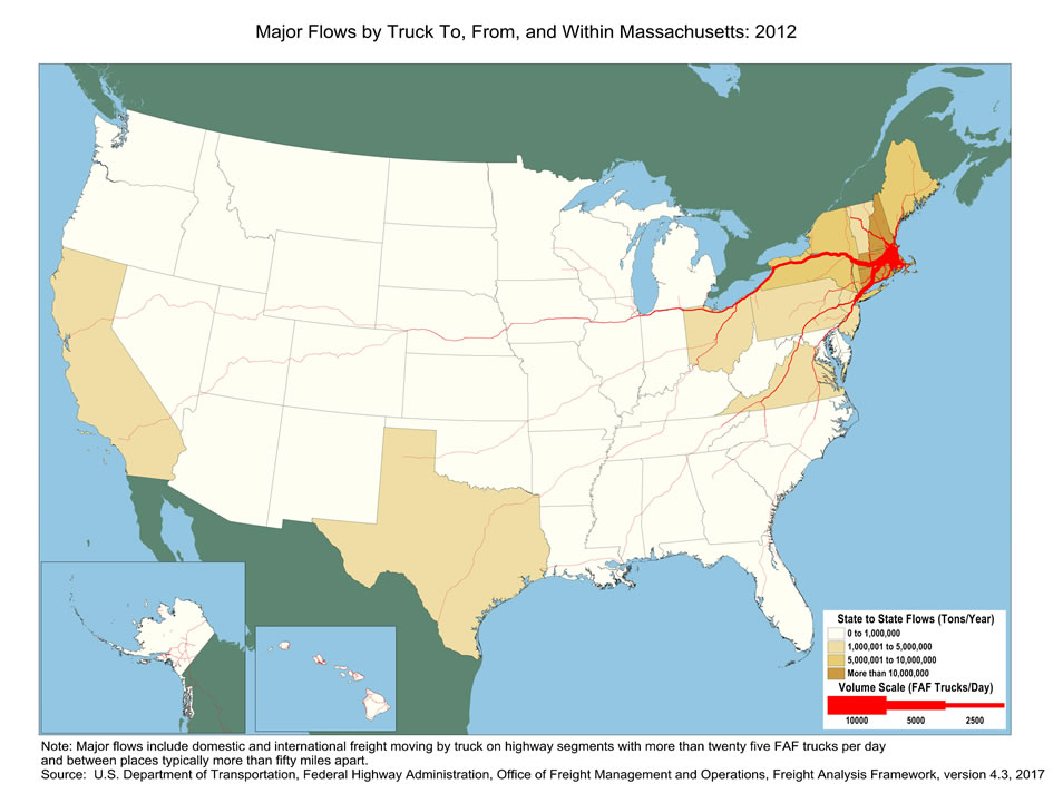 Massachusetts Truck Flow Major Flows By Truck To From And Within - Massachusetts-in-us-map
