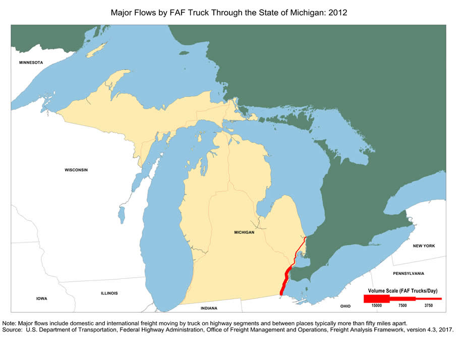 I 75 Michigan Map.Map Of Major Freight Flow By Trucks That Pass Through The State Of