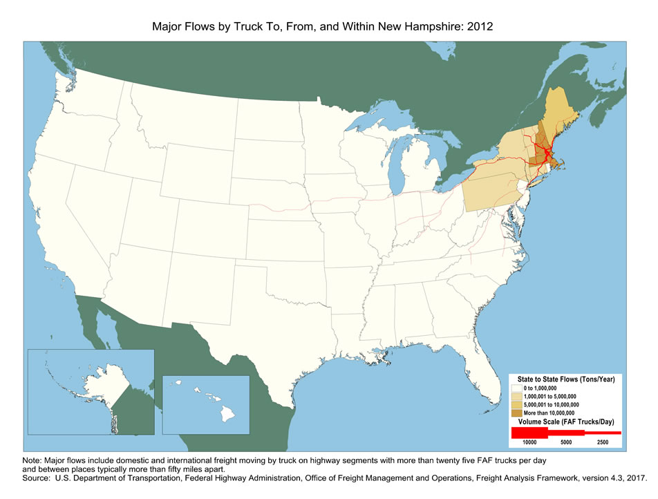 New Hampshire Truck Flow Major Flows By Truck To From And - New hampshire in us map
