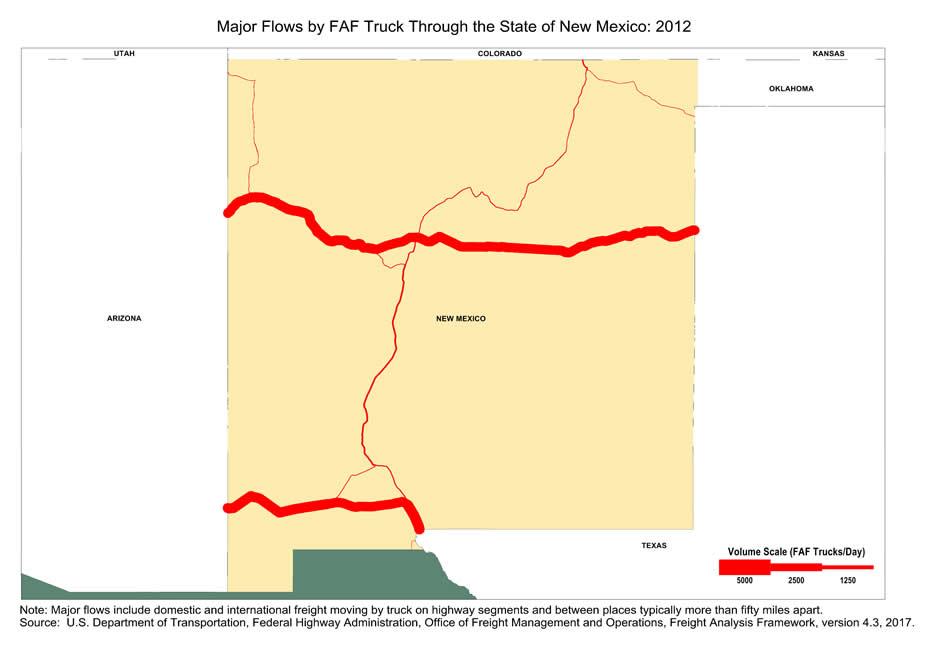 Map Of Major Freight Flow By Trucks That Pass Through The State Of