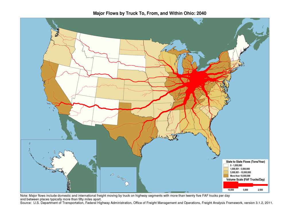 Ohio Truck Flow Fhwa Freight Management And Operations High Resolution Us Map