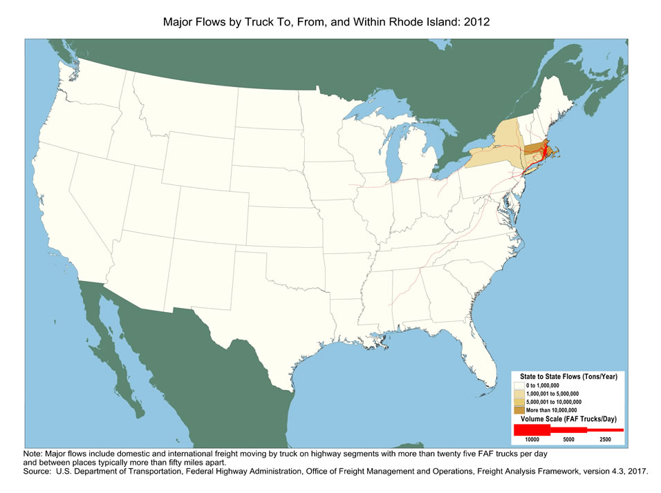 Rhode Island Truck Flow Major Flows By Truck To From And - Rhode island on the us map