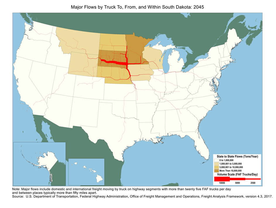 South Dakota Truck Flow Major Flows By Truck To From And - South dakota in us map