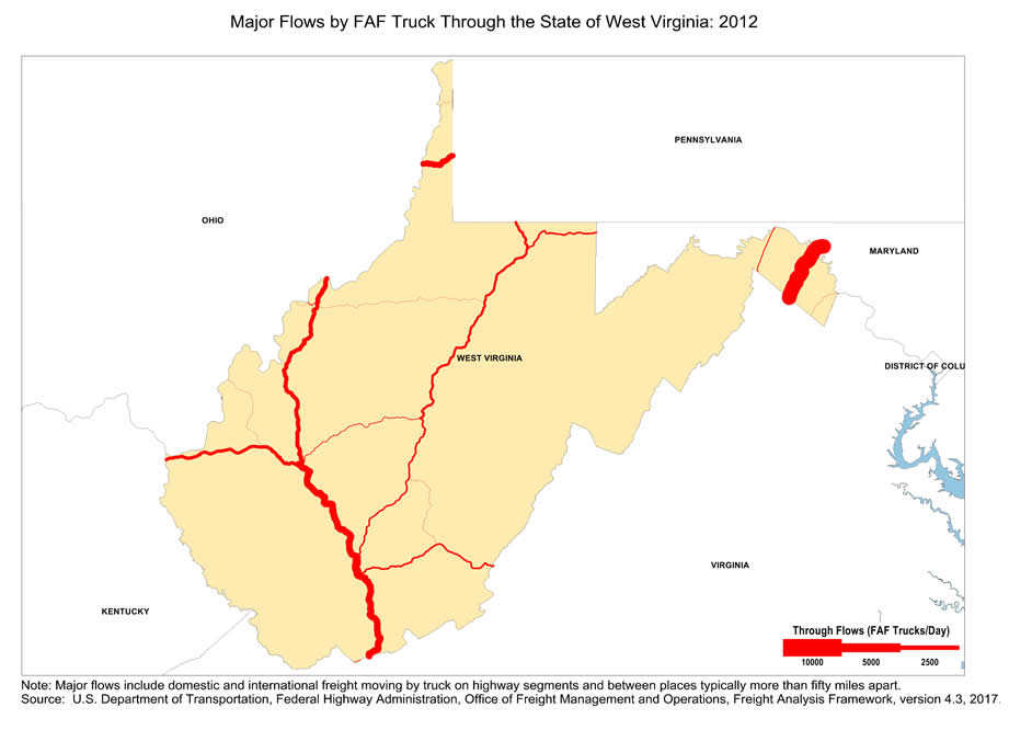 I 77 West Virginia Map.Map Of Major Freight Flow By Trucks That Pass Through The State Of