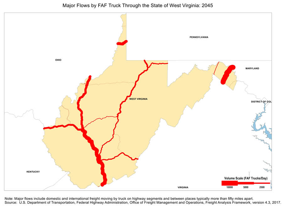 Map of Major Freight Flow by Trucks that Pass-Through the