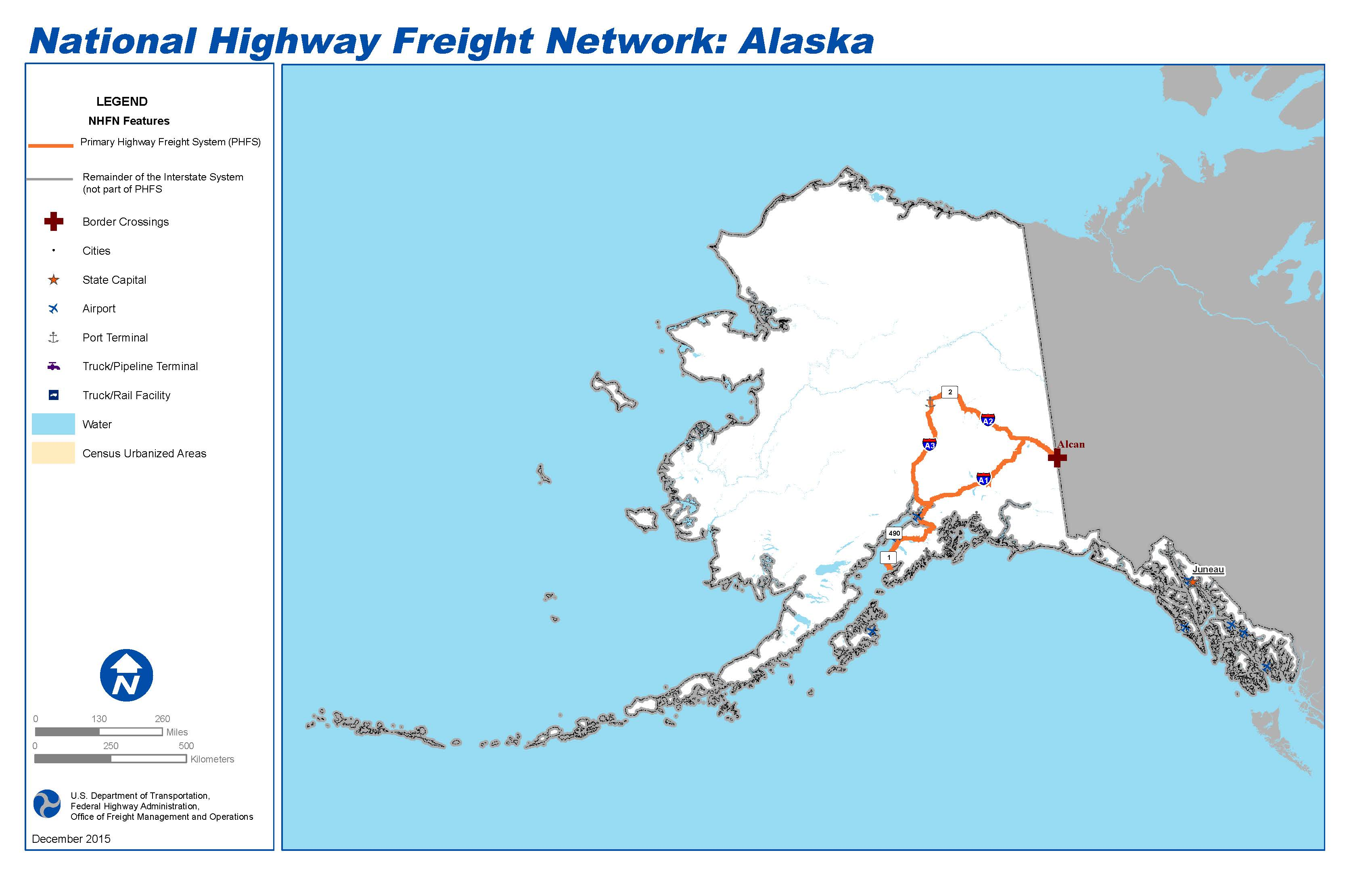 Map Of Alaska Highway System.National Highway Freight Network Map And Tables For Alaska Fhwa