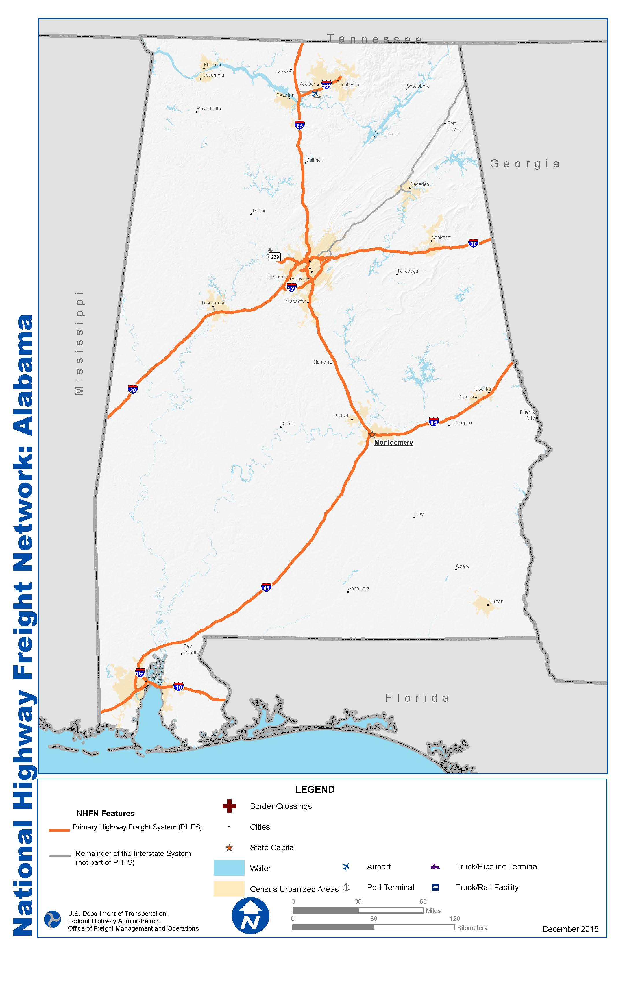 National Highway Freight Network Map And Table For Alabama FHWA - State of alabama map with cities