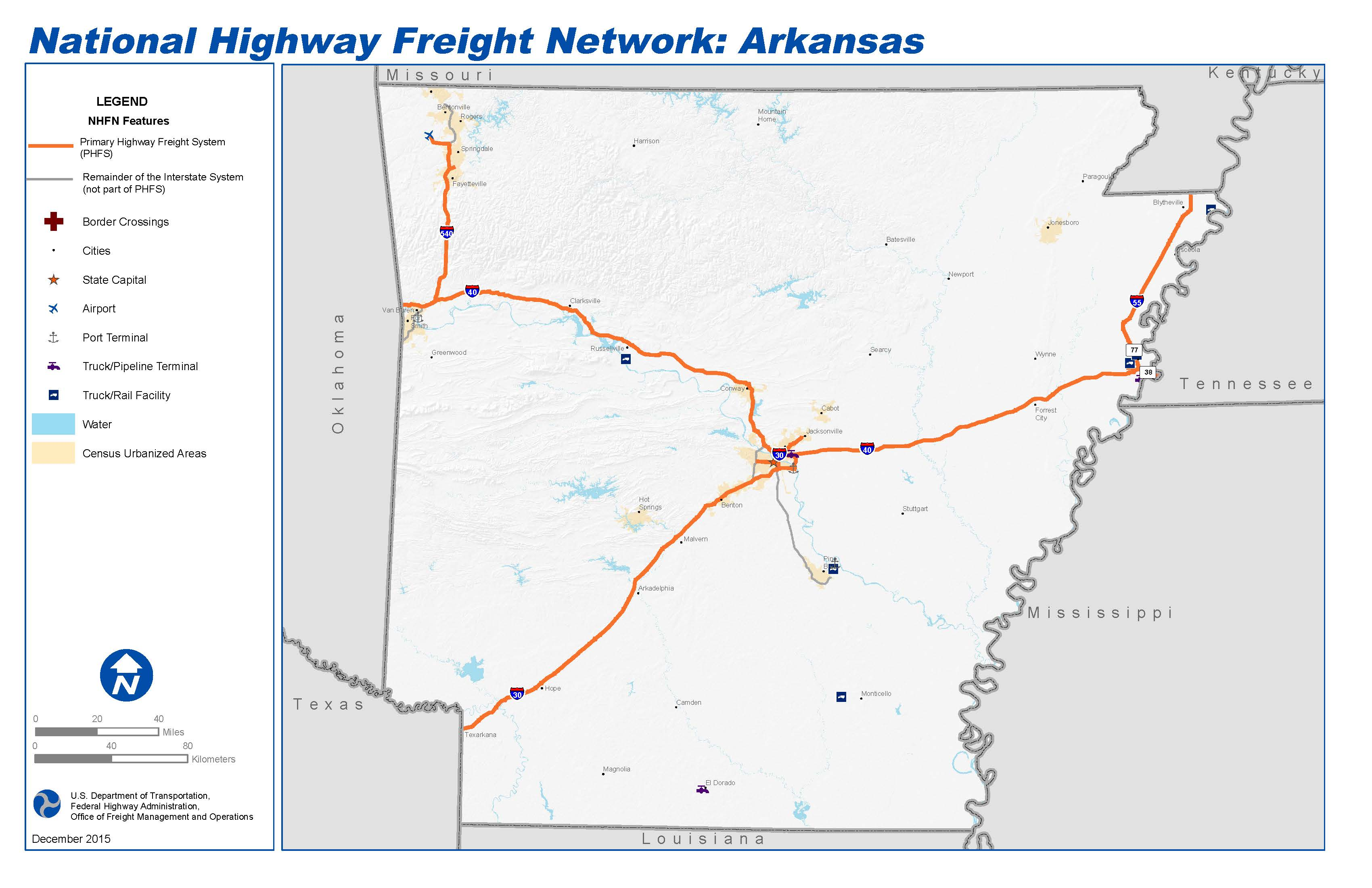 National Highway Freight Network Map And Tables For Arkansas - Arkansas highway map