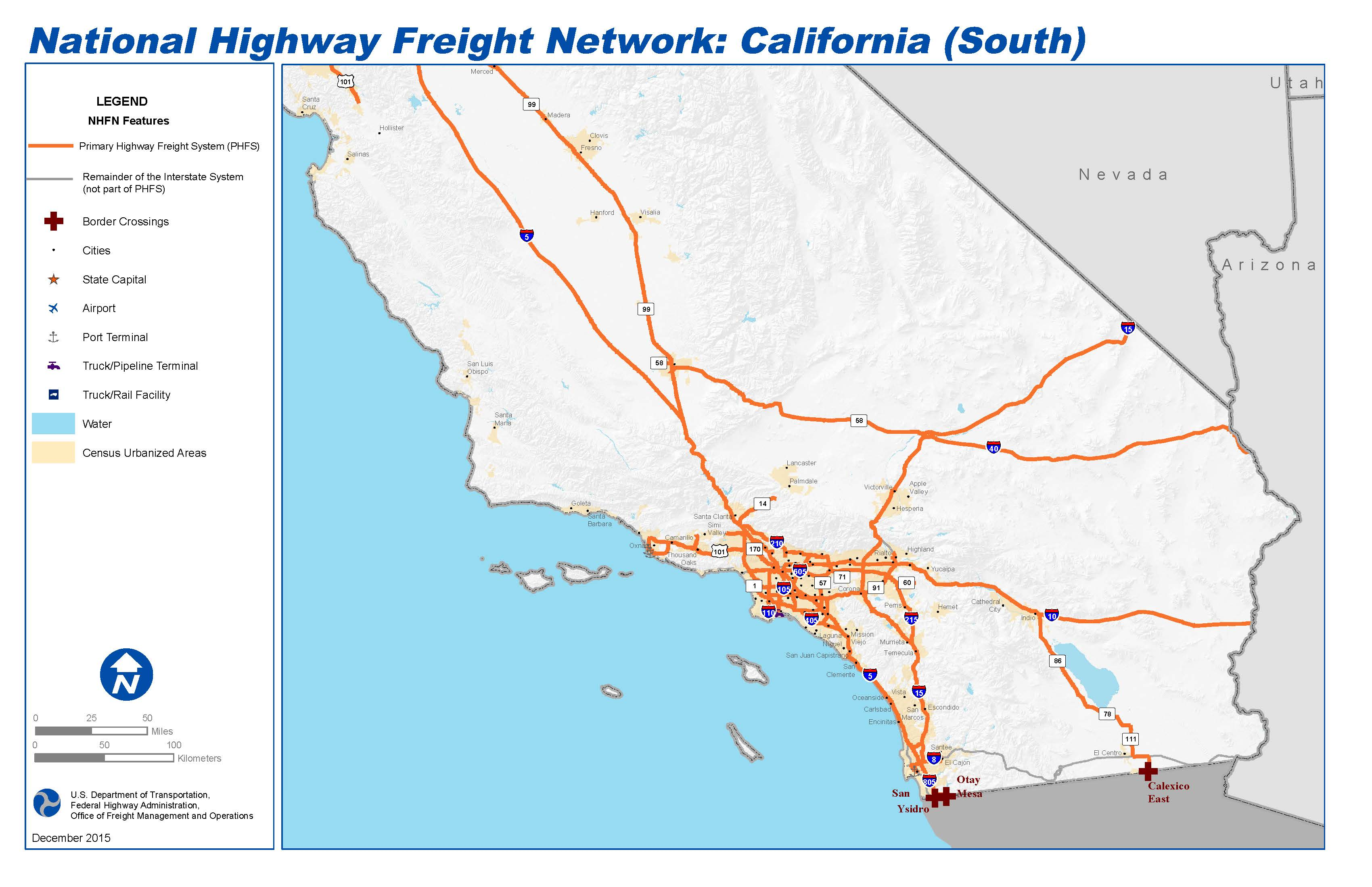 Highway 101 California Map.National Highway Freight Network Map And Tables For California