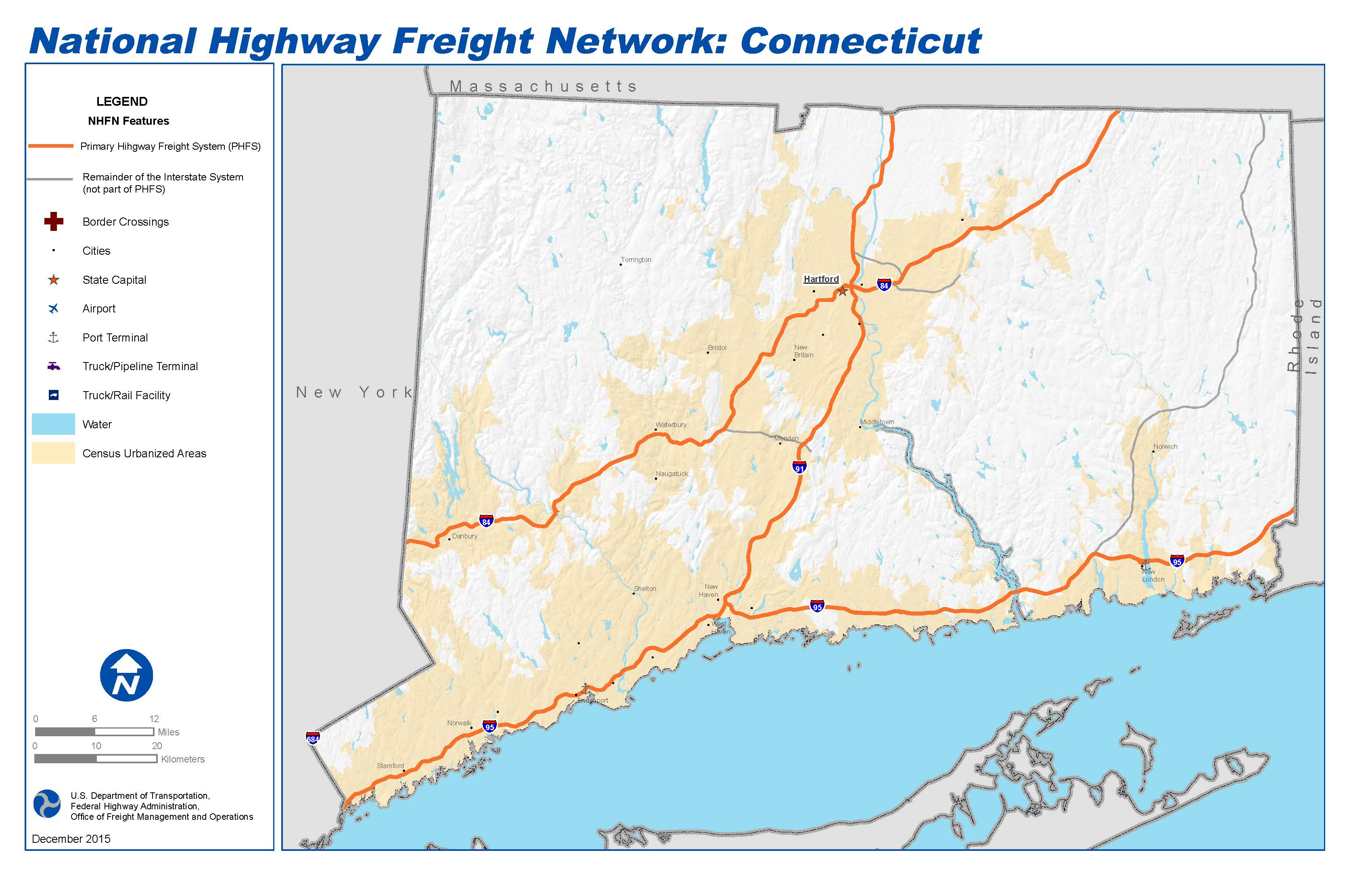 National Highway Freight Network Map And Tables For Connecticut - Map of connecticut cities