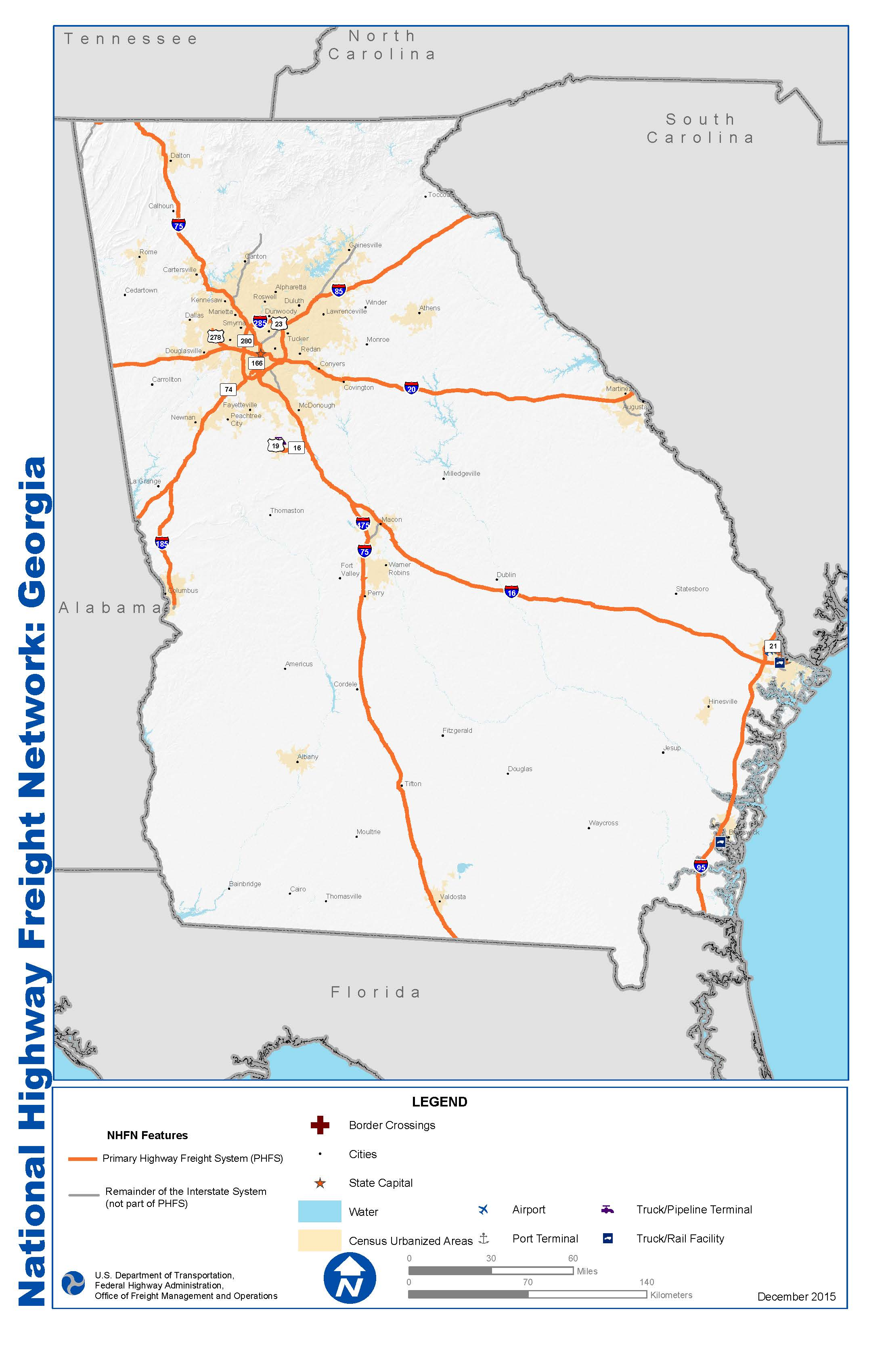 National Highway Freight Network Map And Tables For Georgia FHWA - Georgia national map