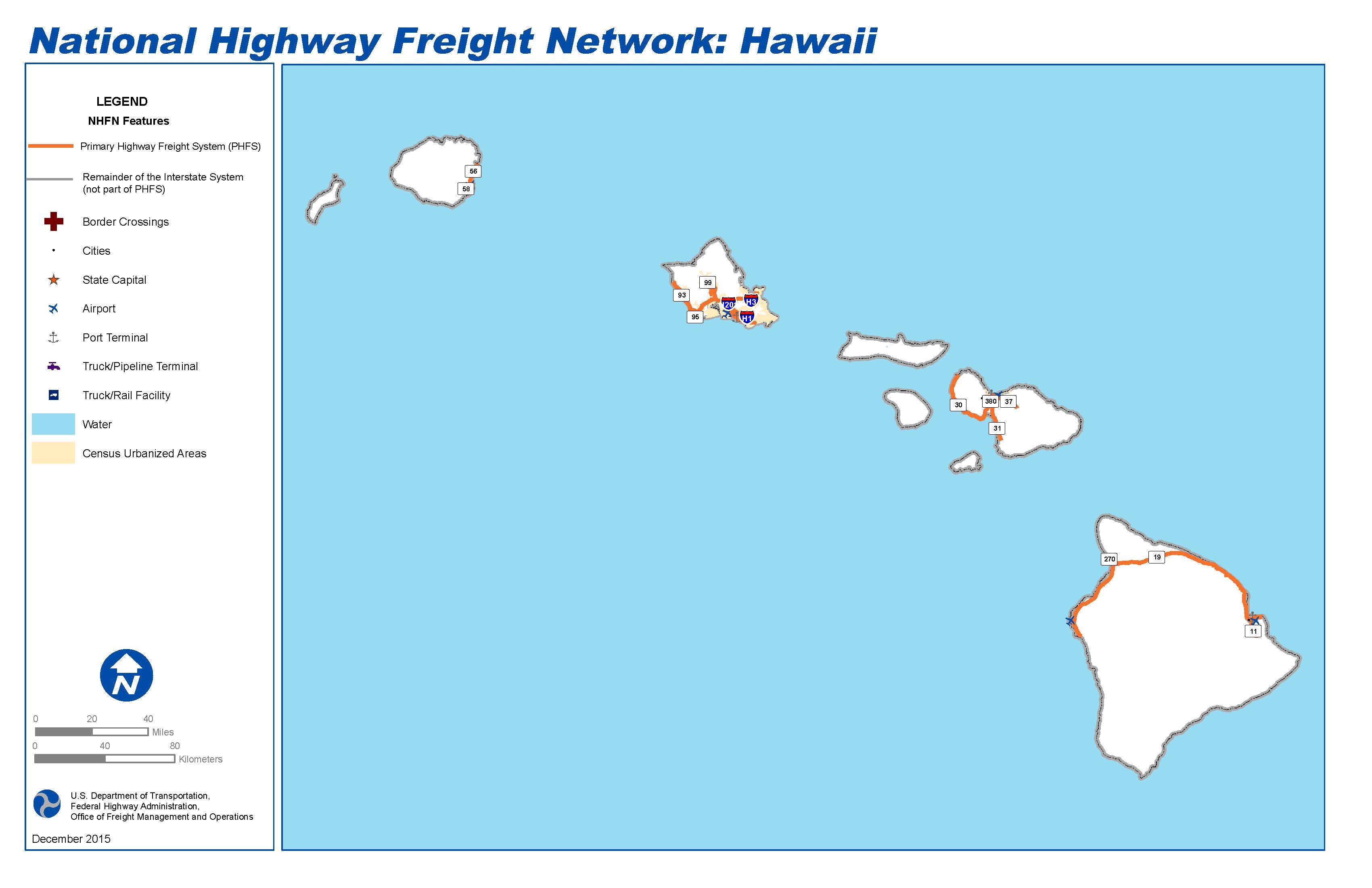 National Highway Freight Network Map and Tables for Hawaii FHWA