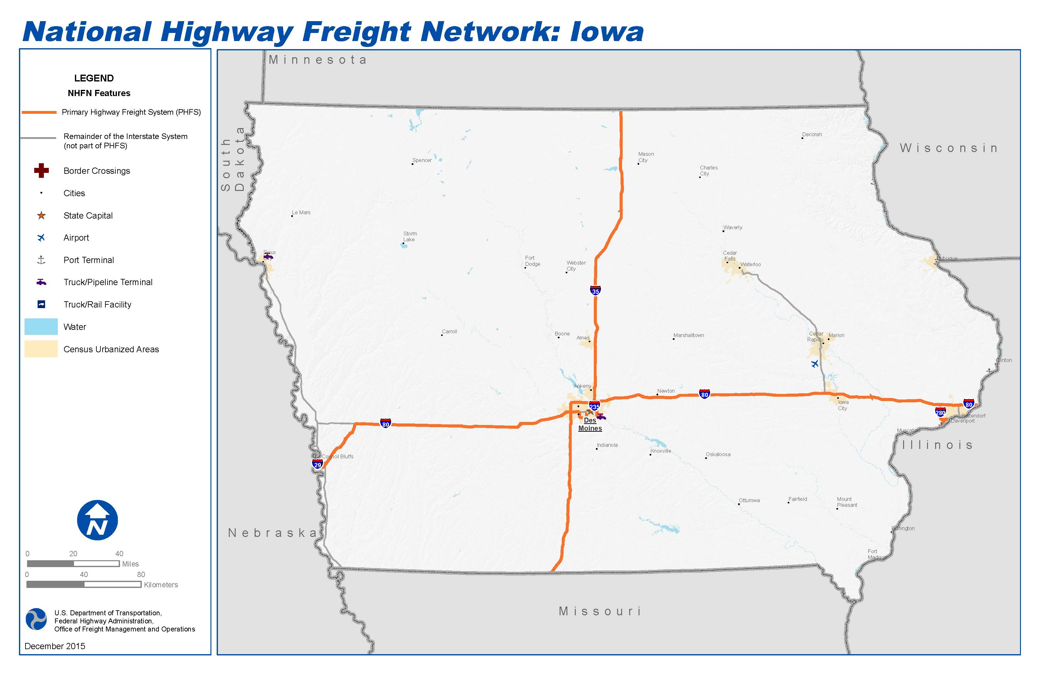 National Highway Freight Network Map and Tables for Iowa FHWA