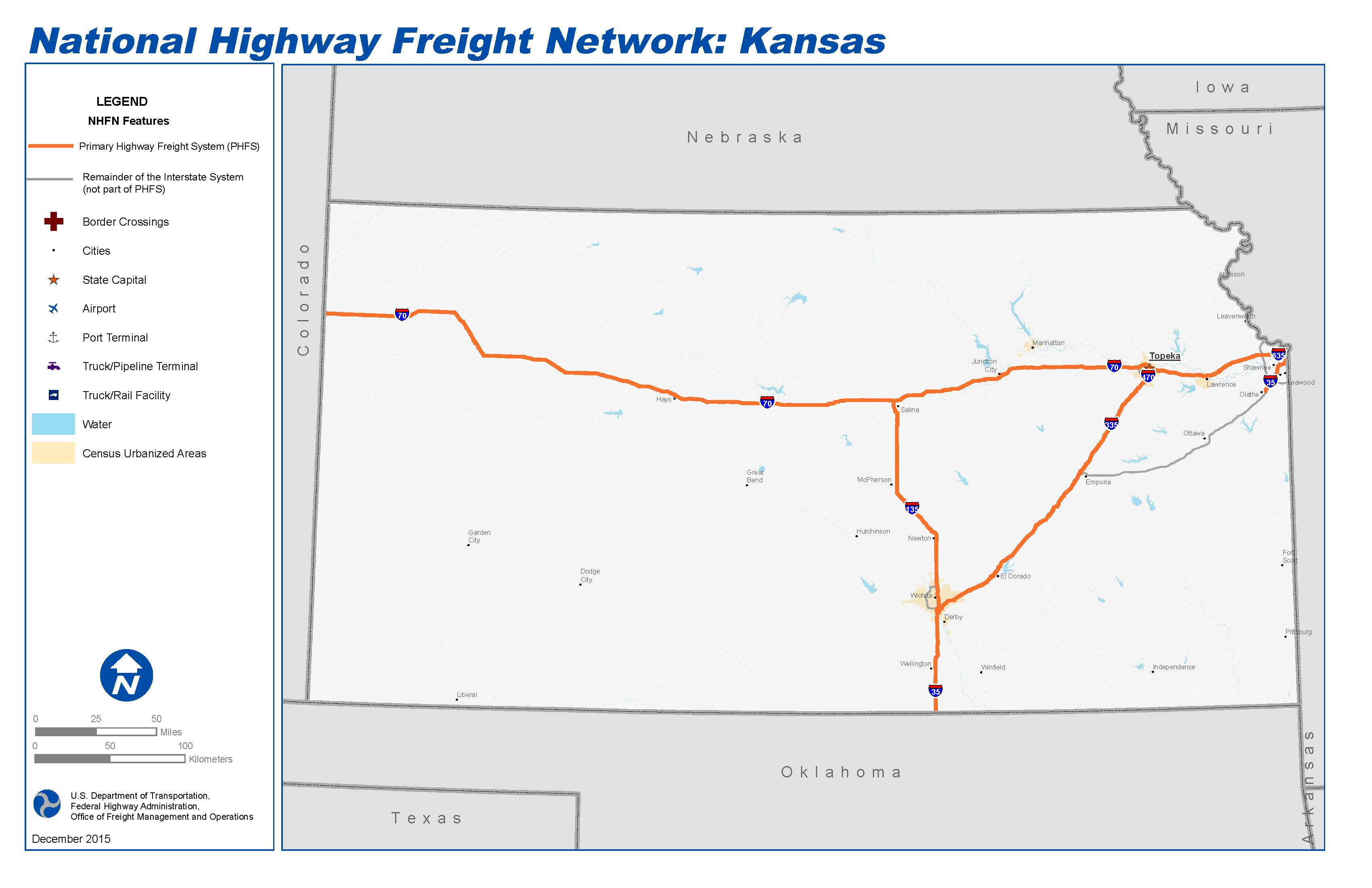 National Highway Freight Network Map and Tables for Kansas FHWA