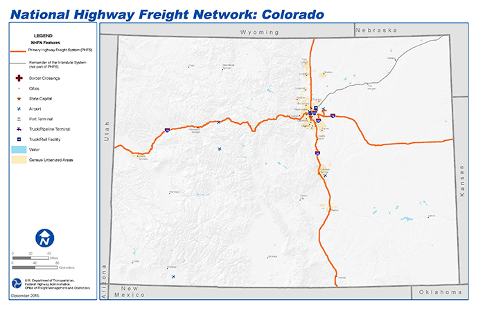 National Highway Freight Network Map and Tables for Colorado - FHWA ...