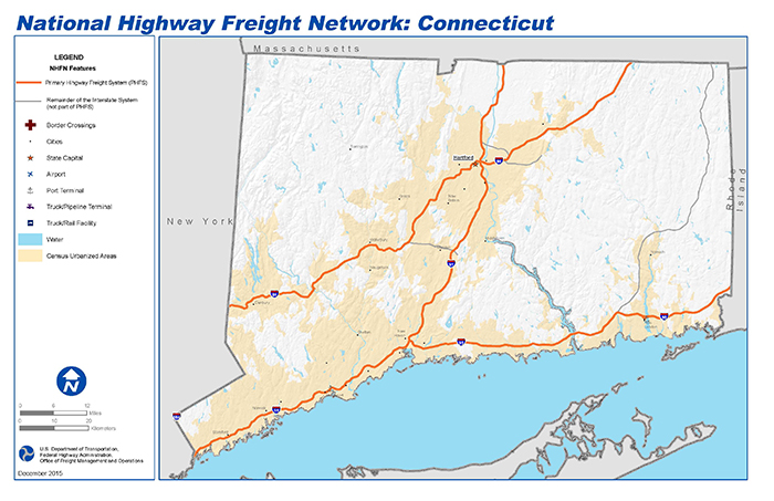 National Highway Freight Network Map and Tables for Connecticut ...