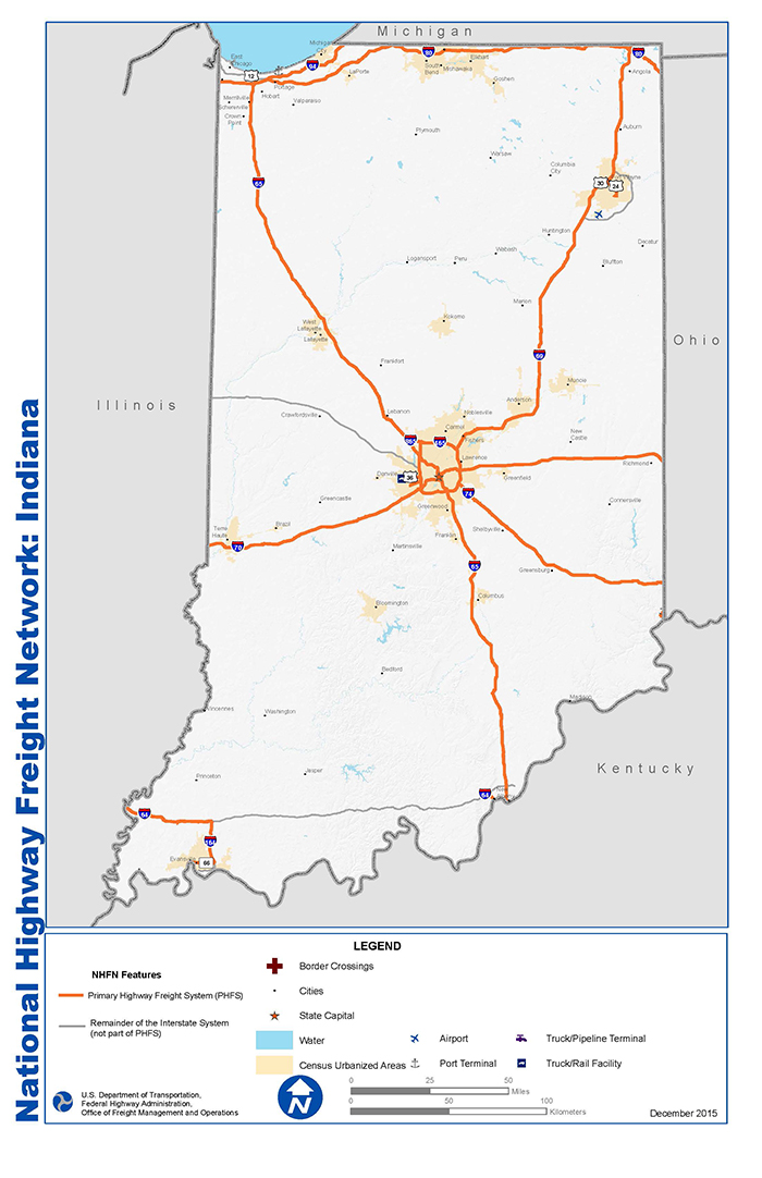 National Highway Freight Network Map And Tables For Indiana Fhwa Freight Management And Operations