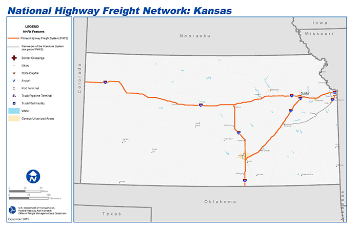 State Map Of Kansas And Oklahoma.National Highway Freight Network Map And Tables For Kansas Fhwa