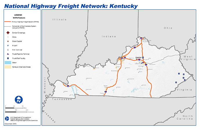 National Highway Freight Network Map and Tables for Kentucky - FHWA on state of jefferson counties, state ky map, state of deseret, state of alabama cities, state of california cities, state of virginia, state of ma, state of maryland cities, state of nd, state of tennessee rivers, state of philadelphia, state of oregon waterfalls, state of arizona flag, state of ok, state of michigan lakes, state of michigan townships, state of the city, state of wa, continental u.s. map, state of mo,