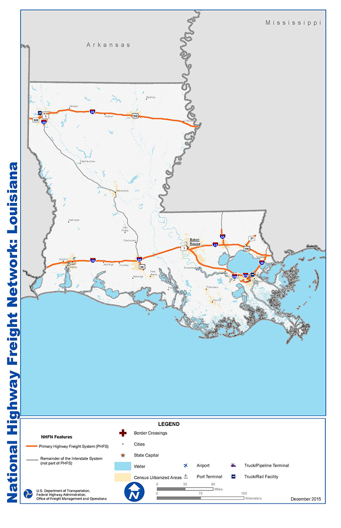 National Highway Freight Network Map and Tables for Louisiana FHWA