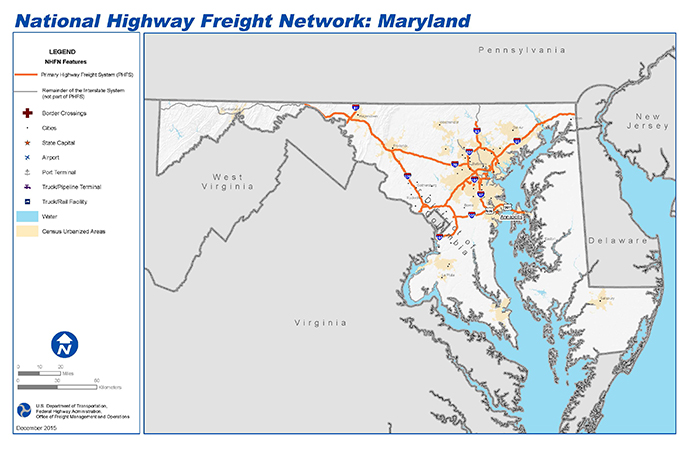 National Highway Freight Network Map And Tables For Maryland - Map of us maryland