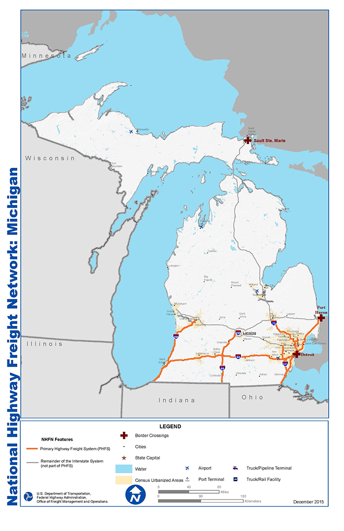 National Highway Freight Network Map And Tables For Michigan Fhwa Freight Management And Operations