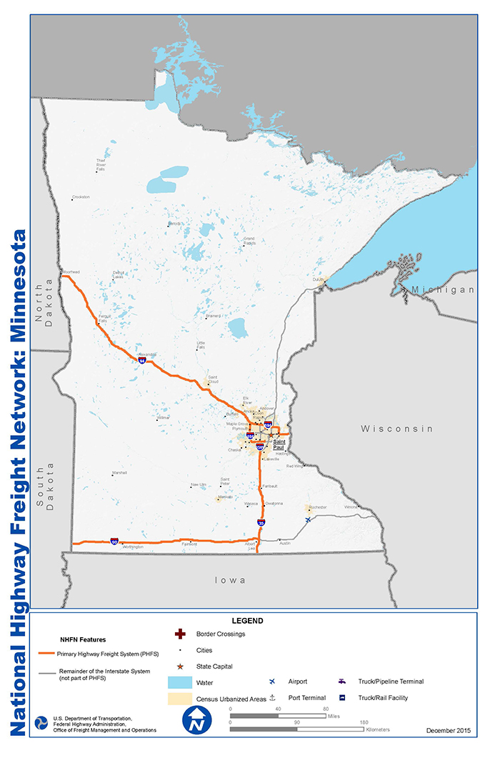 National Highway Freight Network Map And Tables For Minnesota Fhwa