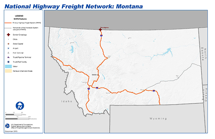National Highway Freight Network Map and Tables for Montana - FHWA ...