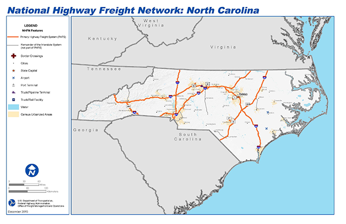 National Highway Freight Network Map And Tables For North Carolina