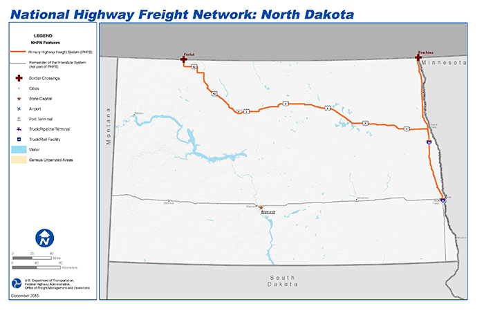 National Highway Freight Network Map And Tables For North Dakota