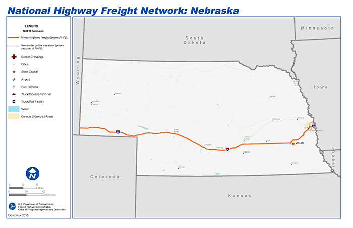 National Highway Freight Network Map And Tables For Nebraska - Nebraska on the us map