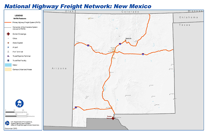National Highway Freight Network Map And Tables For New Mexico - New mexico on us map